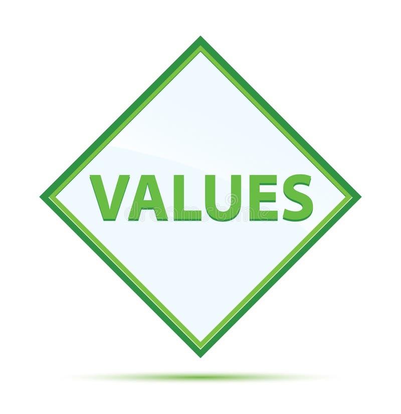 Botão verde abstrato moderno do diamante dos valores ilustração royalty free