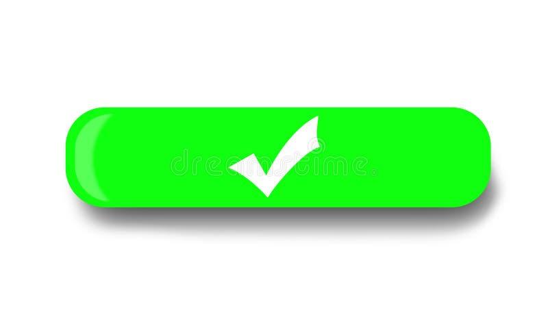Botão verde com símbolo branco da confirmação ilustração royalty free