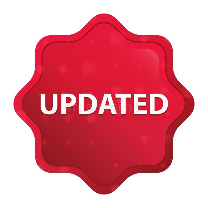 Botão vermelho cor-de-rosa enevoado atualizado da etiqueta do starburst ilustração stock