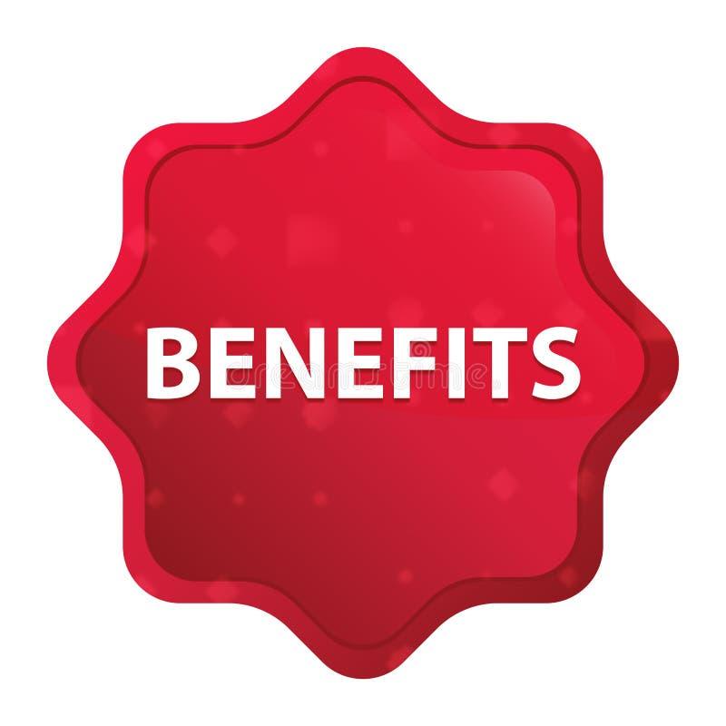 Botão vermelho cor-de-rosa enevoado da etiqueta do starburst dos benefícios ilustração do vetor