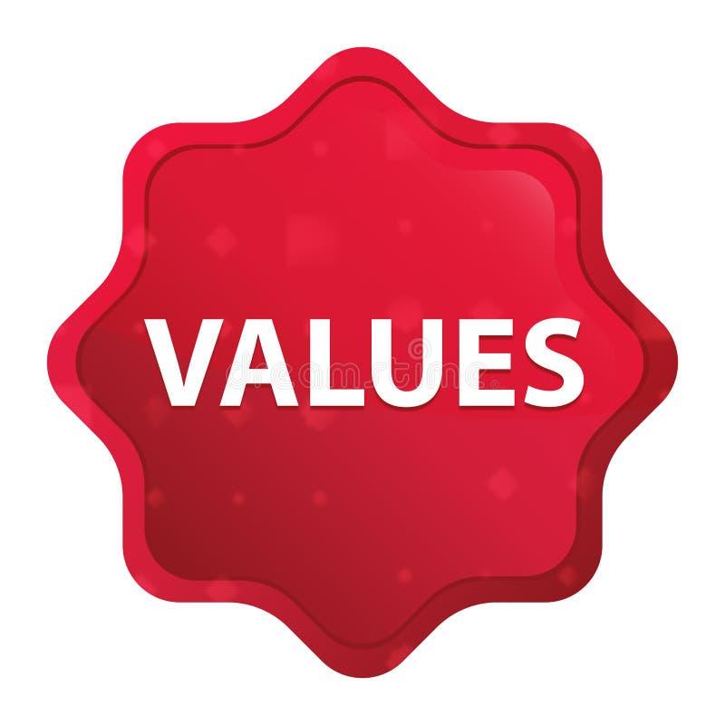 Botão vermelho cor-de-rosa enevoado da etiqueta do starburst dos valores ilustração royalty free
