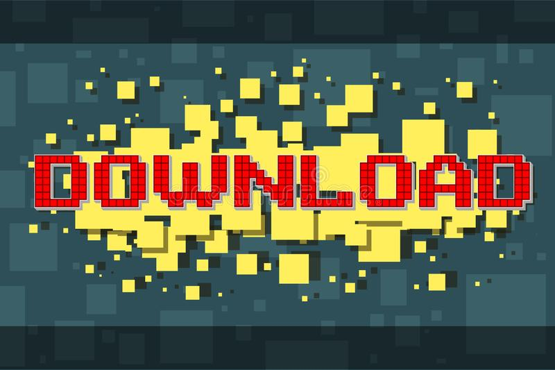 Botão vermelho da transferência do pixel para jogos de vídeo ilustração stock