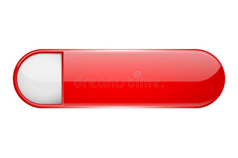 Botão vermelho do menu com etiqueta branca Ícone oval do vidro 3d ilustração royalty free