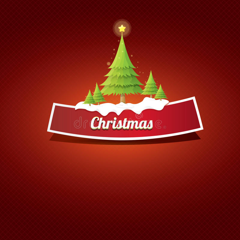 Botão vermelho do Natal do vetor com árvore de Natal ilustração royalty free