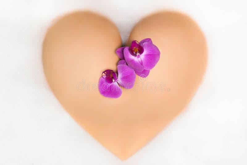 Botín femenino en forma de un corazón con la orquídea fotografía de archivo libre de regalías