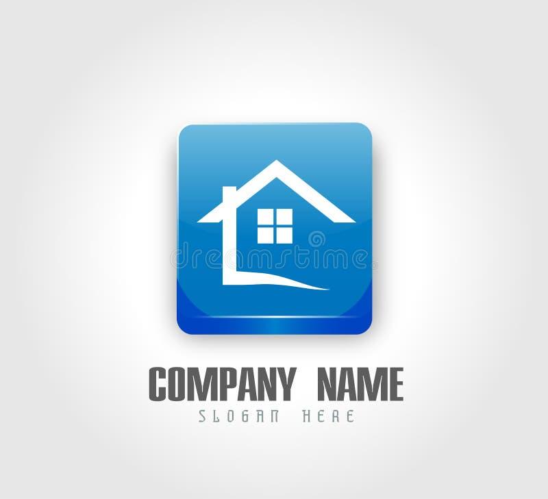 Botón abstracto del cuadrado del brillo del logotipo 3d del tejado de la casa de las propiedades inmobiliarias y diseño casero de ilustración del vector
