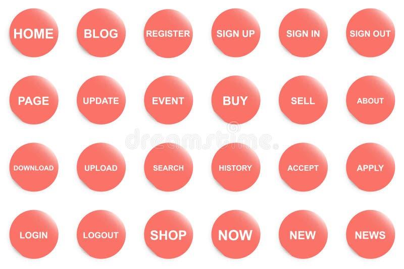 Botón anaranjado para la página web o el app ilustración del vector