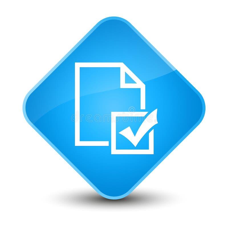 Botón azul ciánico elegante del diamante del icono de la encuesta stock de ilustración