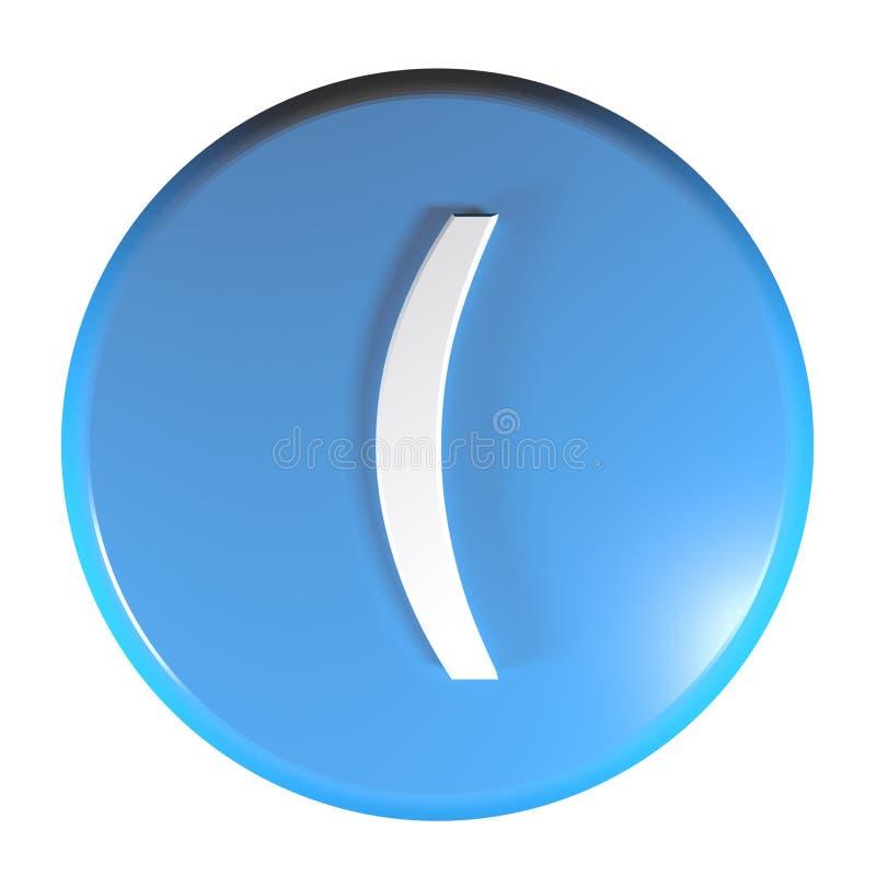 Botón azul con el símbolo abierto de paréntesis - ejemplo del círculo de la representación 3D stock de ilustración