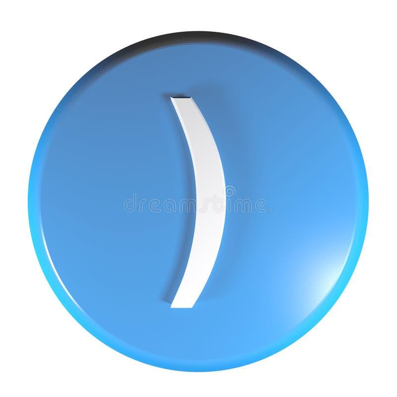 Botón azul con el símbolo cerrado de paréntesis - ejemplo del círculo de la representación 3D ilustración del vector