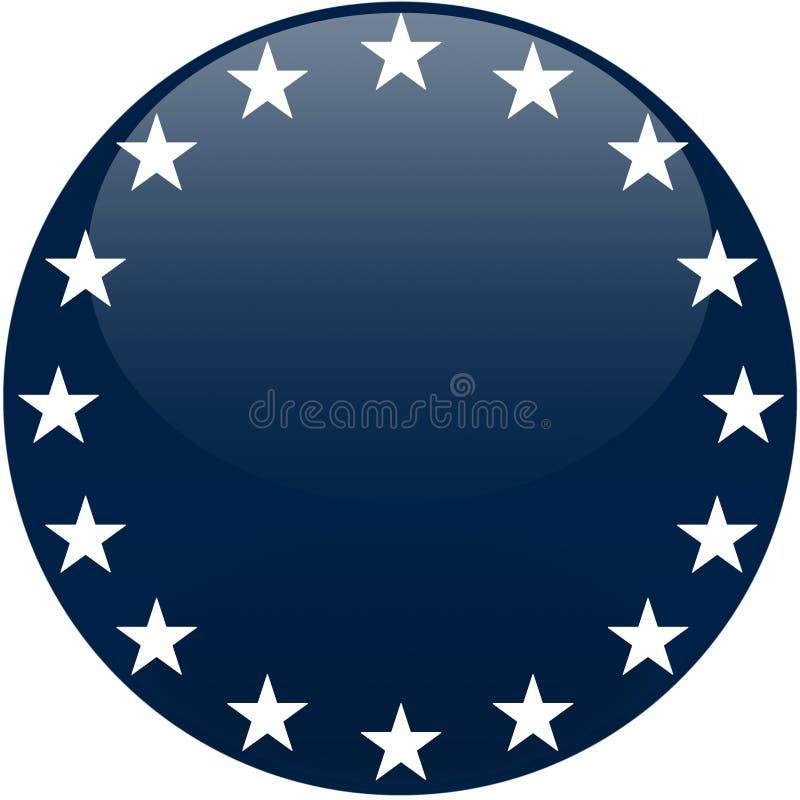 Botón azul con las estrellas blancas ilustración del vector
