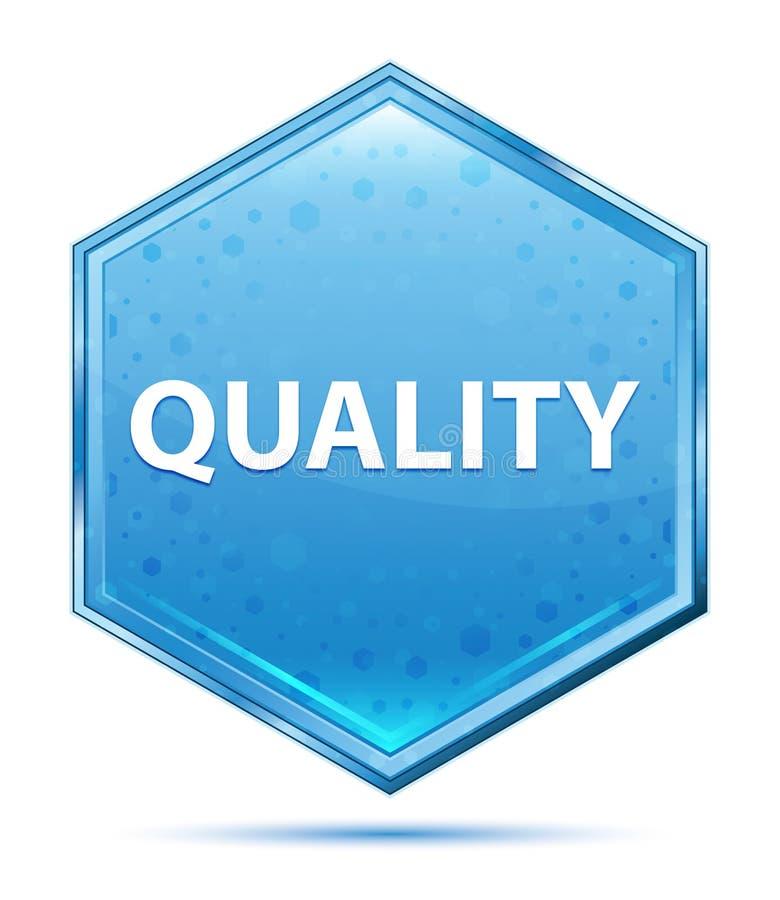 Botón azul cristalino del hexágono de la calidad ilustración del vector