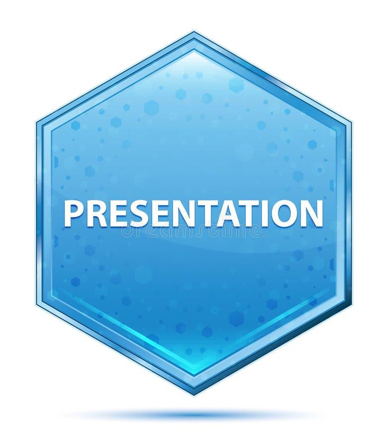 Botón azul cristalino del hexágono de la presentación stock de ilustración