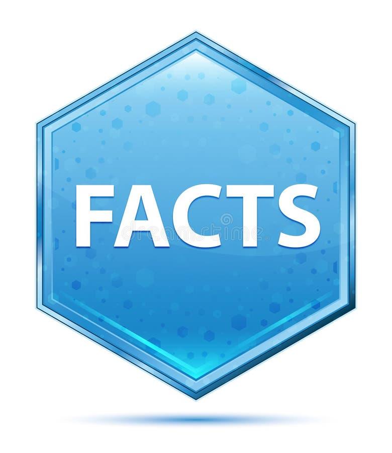 Botón azul cristalino del hexágono de los hechos ilustración del vector