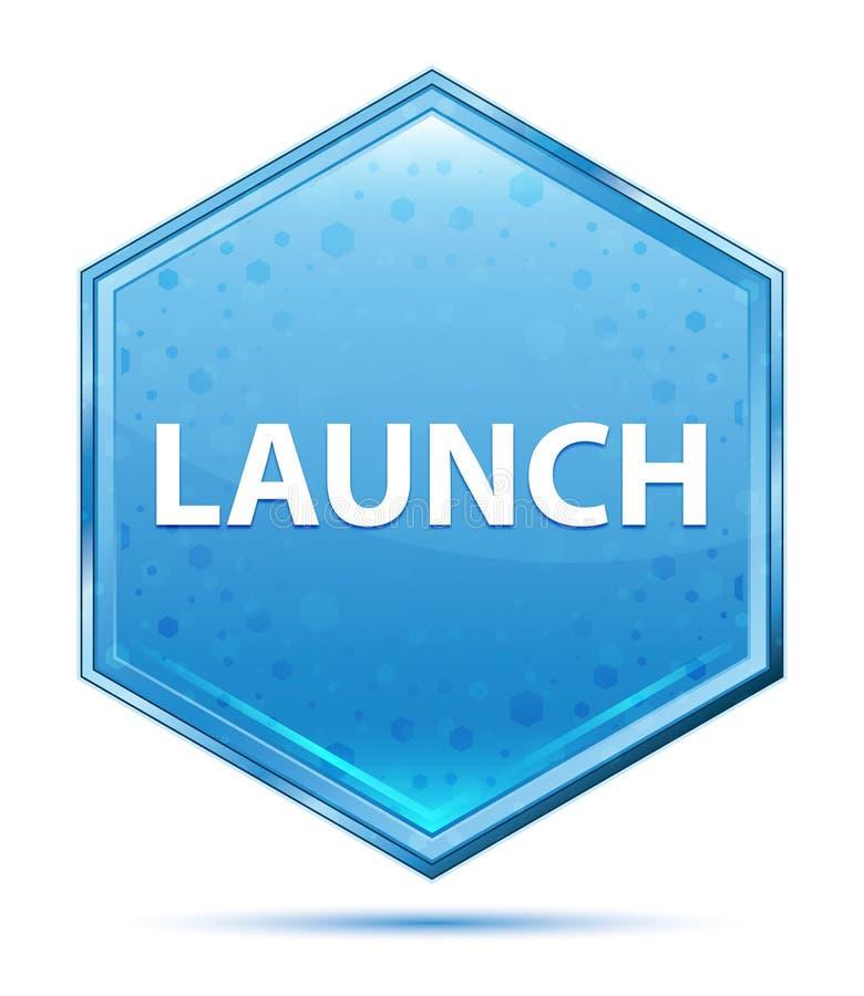 Botón azul cristalino del hexágono del lanzamiento libre illustration