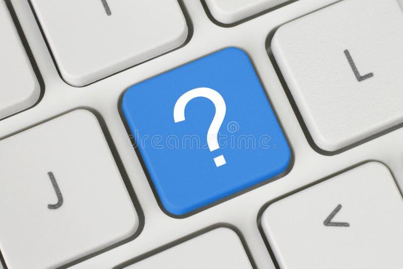 Botón azul de la pregunta fotografía de archivo