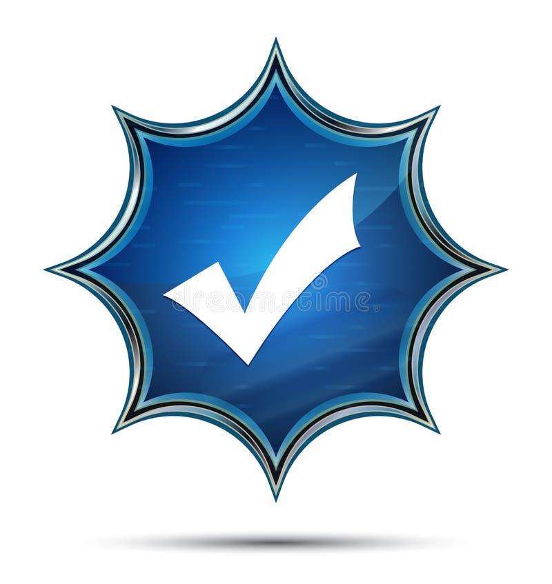 Botón azul del resplandor solar vidrioso mágico del icono de la marca de cotejo ilustración del vector