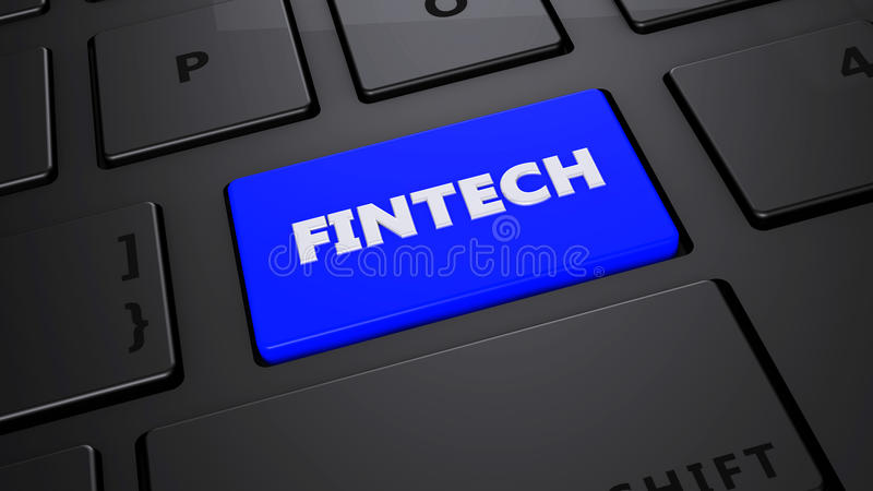 Botón azul del teclado de Fintech ilustración del vector