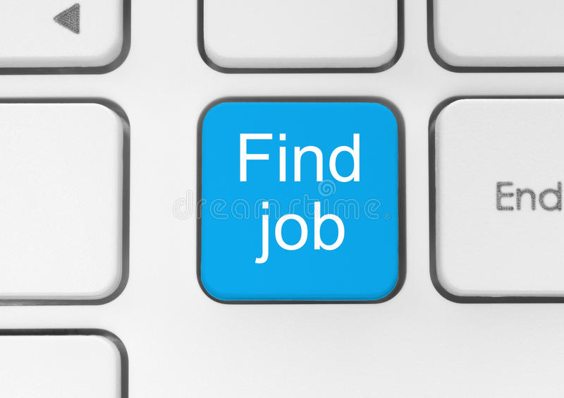 Botón azul del trabajo del hallazgo stock de ilustración