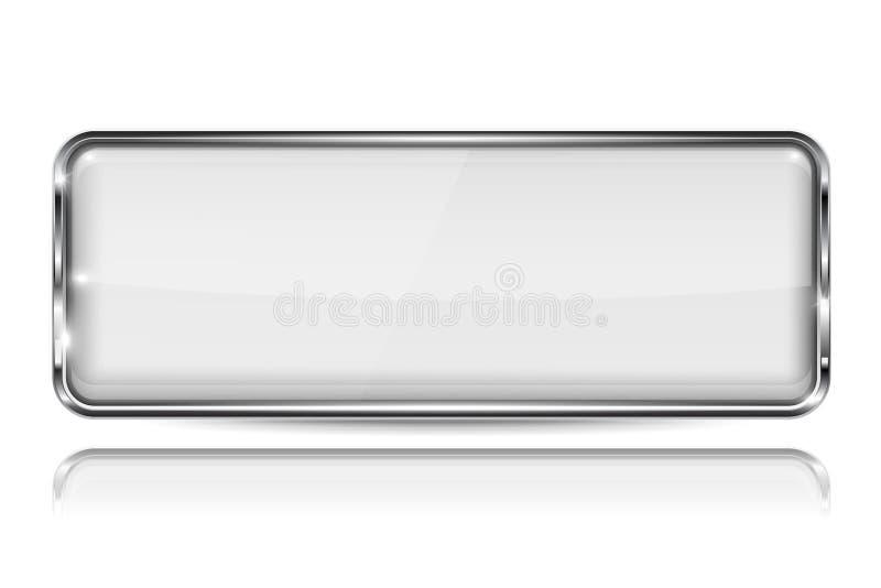 Botón blanco del vidrio 3d con el marco metálico Forma del rectángulo Con la reflexión en el fondo blanco stock de ilustración