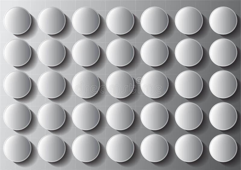 Botón blanco y negro moderno geométrico con el modelo del fondo del extracto de la sombra libre illustration