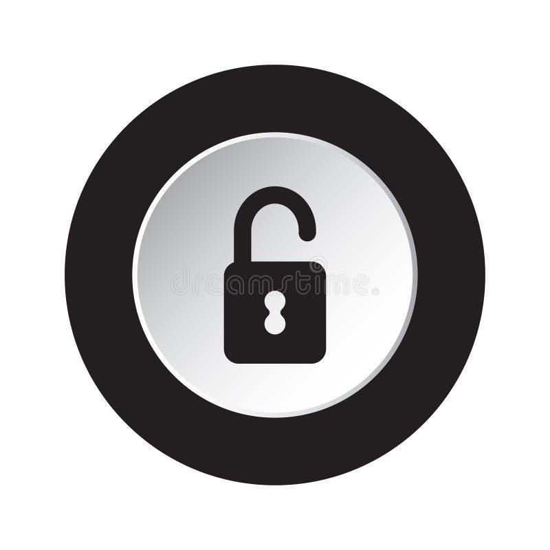 Botón blanco y negro redondo - abra el icono del candado libre illustration