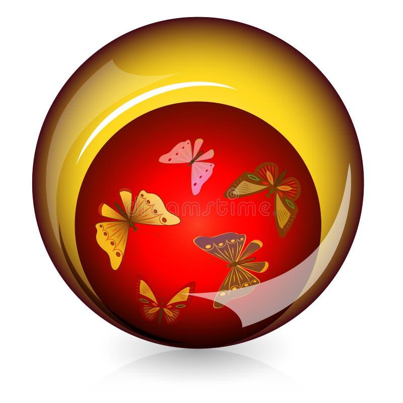 Botón brillante con las mariposas libre illustration