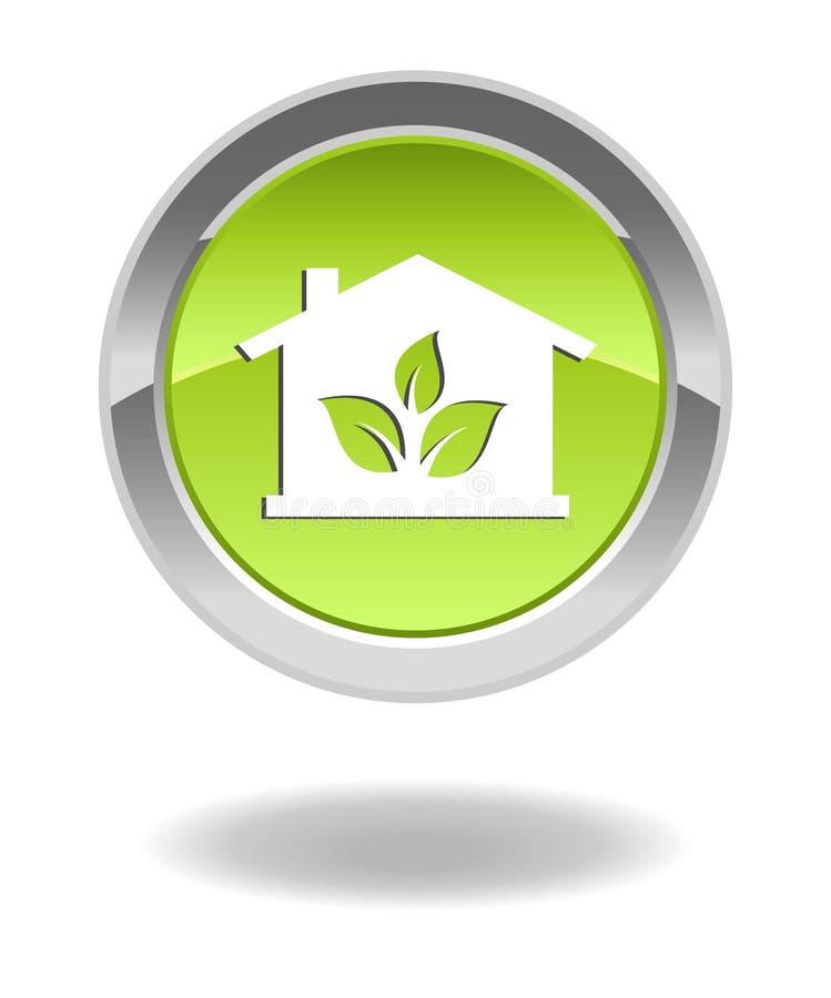 Botón brillante de la casa verde del eco ilustración del vector