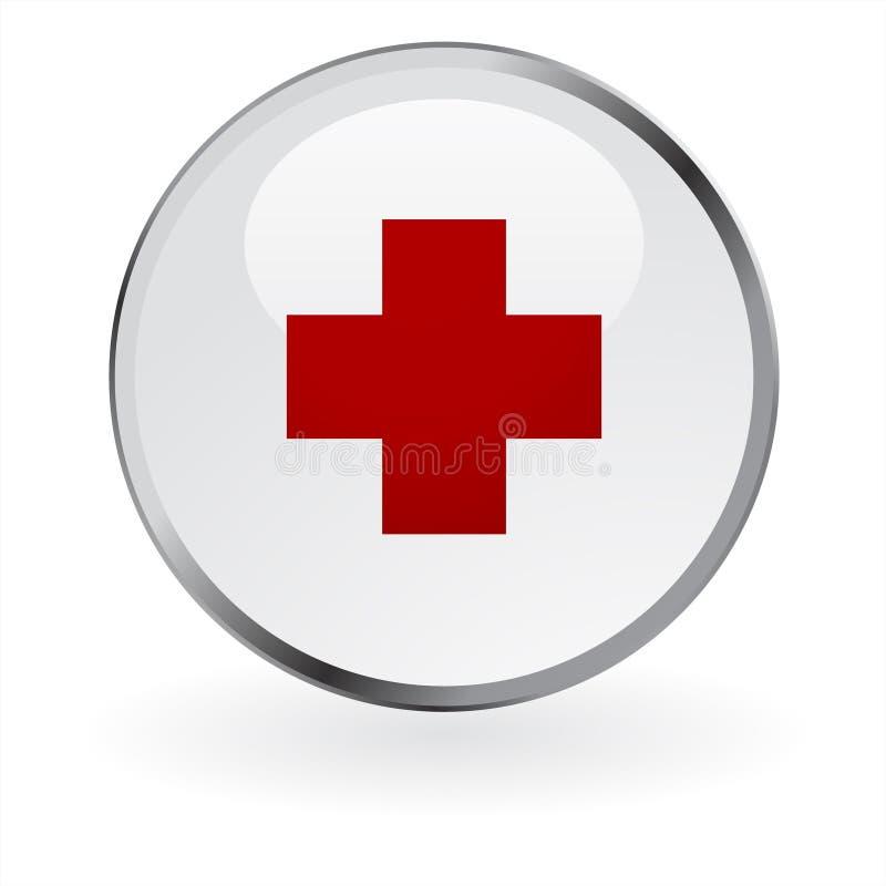 Botón brillante de la Cruz Roja ilustración del vector