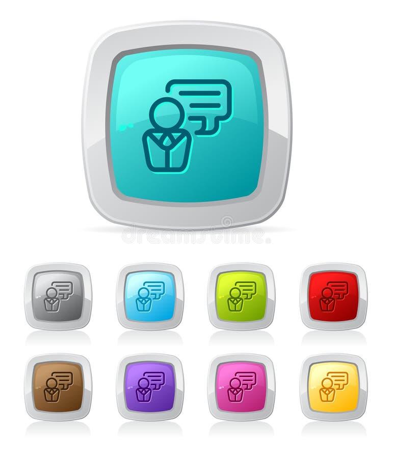Botón brillante - discusión stock de ilustración