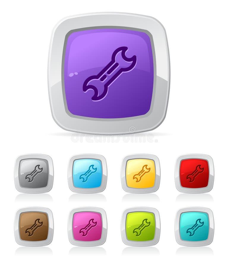 Botón brillante - herramienta utilitaria ilustración del vector
