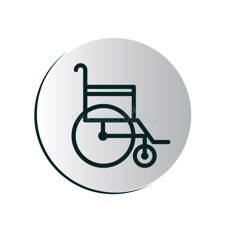 Botón circular degradado con la silla de ruedas stock de ilustración