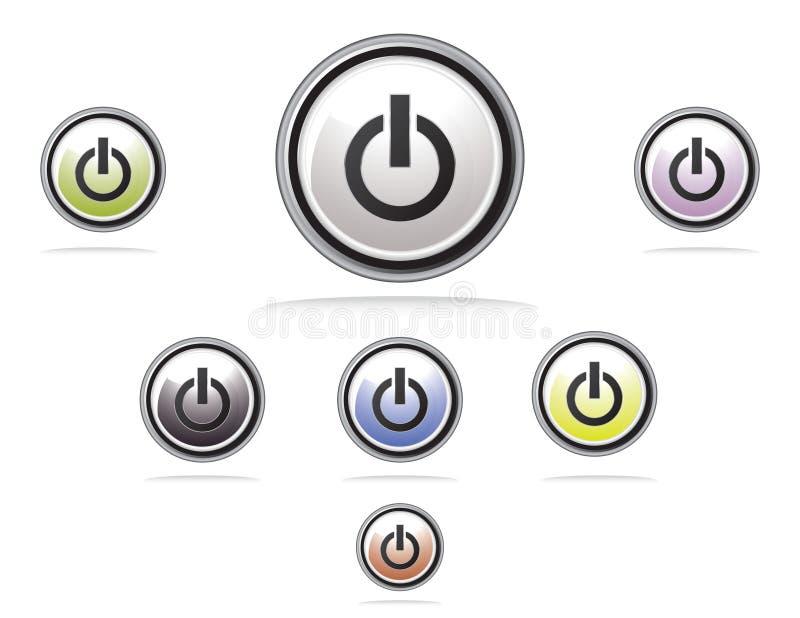 Botón colorido brillante de la potencia libre illustration