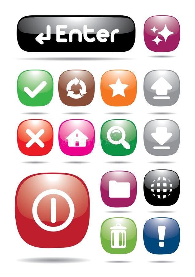 Botón colorido del icono del Web page fotos de archivo libres de regalías