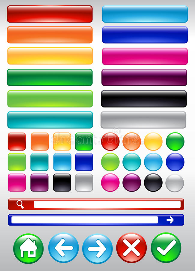 Botón colorido del web stock de ilustración