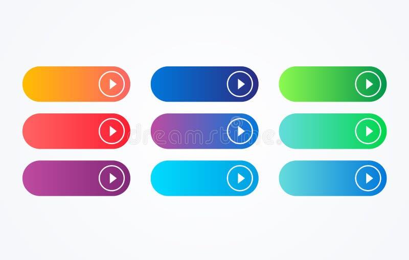 Botón colorido fijado en el fondo blanco Línea plana colección del botón de la pendiente Elemento del Web del vector stock de ilustración