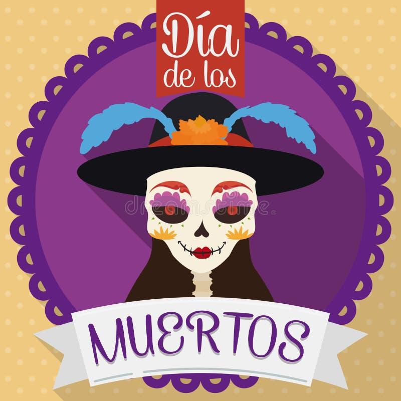 Botón con Catrina para Dia de Muertos en el estilo plano, ejemplo del vector stock de ilustración