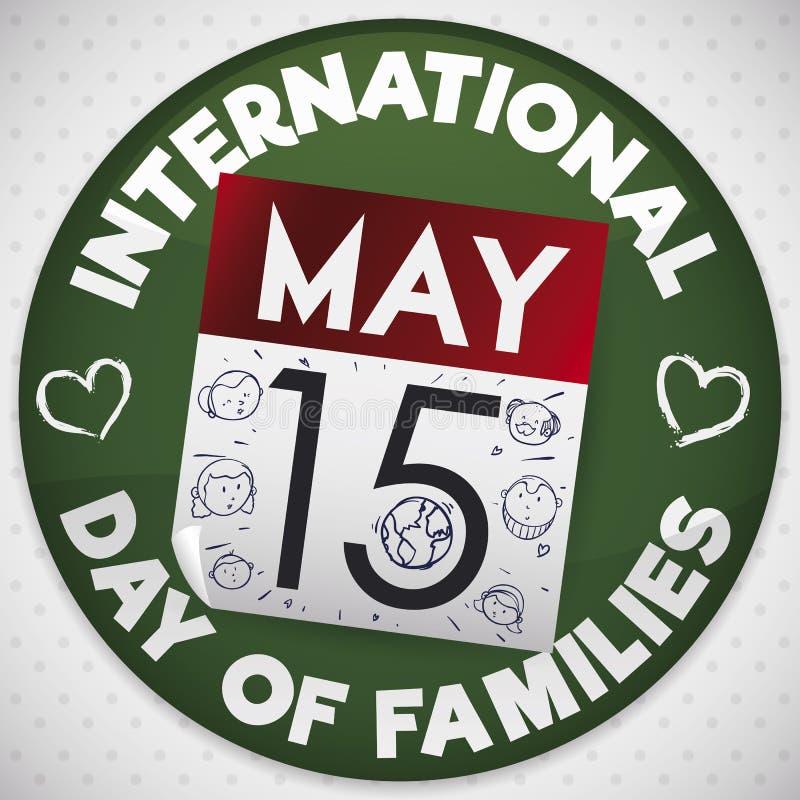 Botón con el calendario y garabatos para el día internacional de familias, ejemplo del vector stock de ilustración