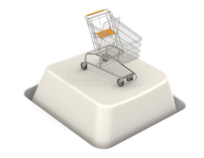 Botón con el carro de compras stock de ilustración
