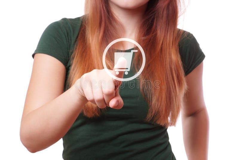 Botón con el icono del carro de la compra imagen de archivo libre de regalías