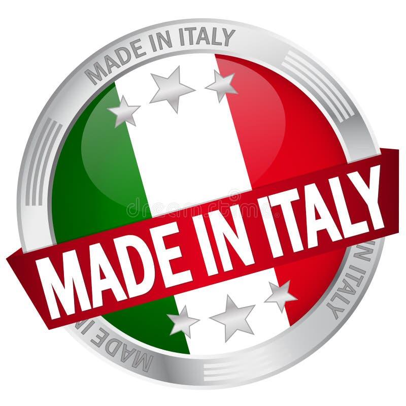 Botón con la bandera hecha en Italia stock de ilustración