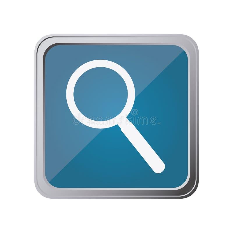 botón con la lupa con el azul del fondo ilustración del vector