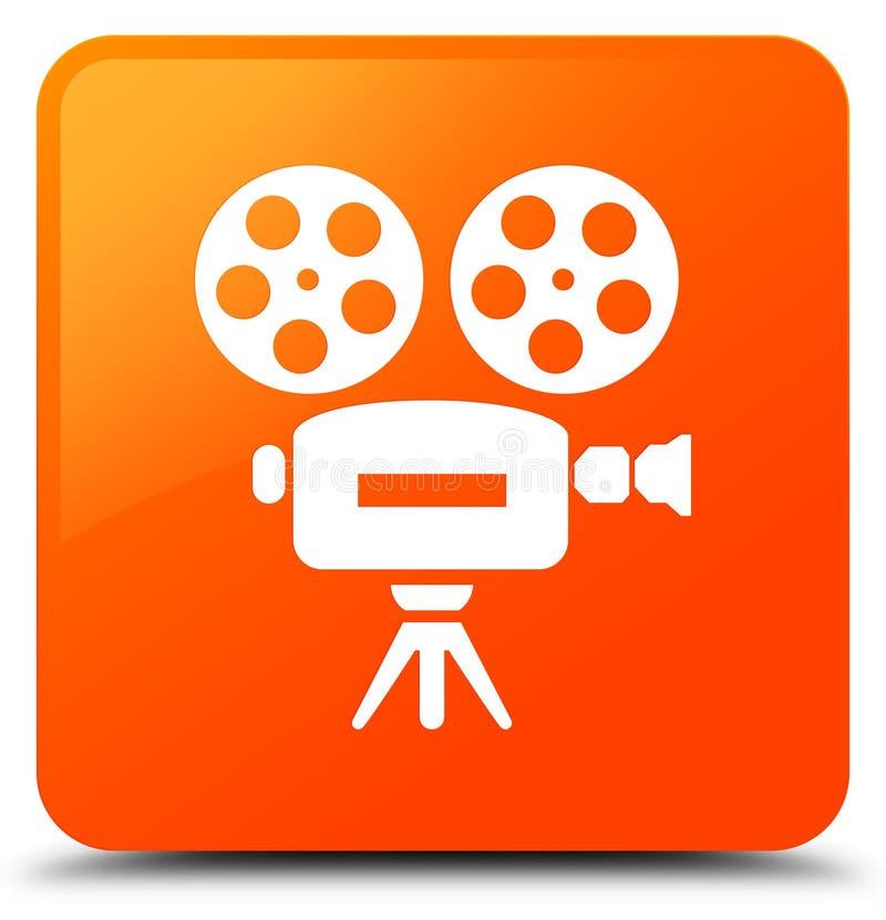 Botón cuadrado anaranjado del icono de la cámara de vídeo ilustración del vector