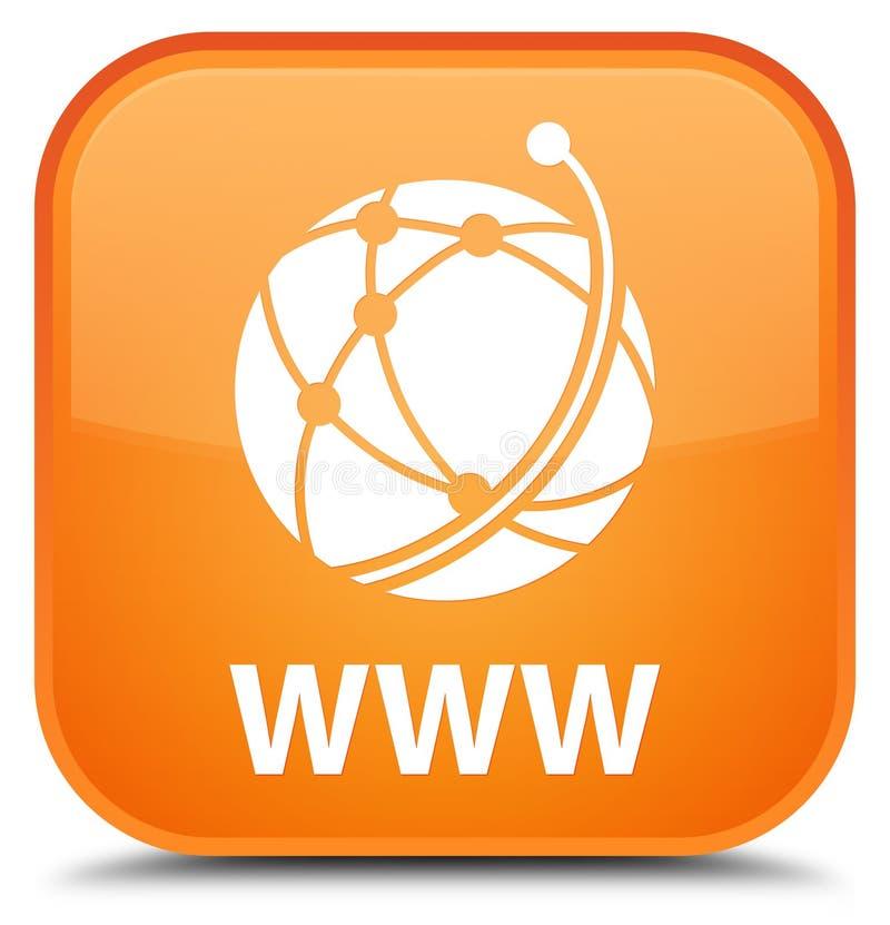 Botón cuadrado anaranjado especial del WWW (icono de la red global) libre illustration