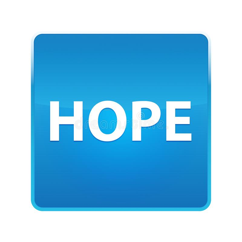 Botón cuadrado azul brillante de la esperanza stock de ilustración