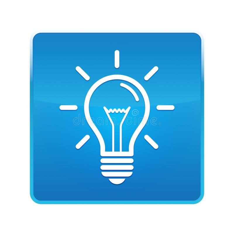 Botón cuadrado azul brillante del icono de la bombilla stock de ilustración