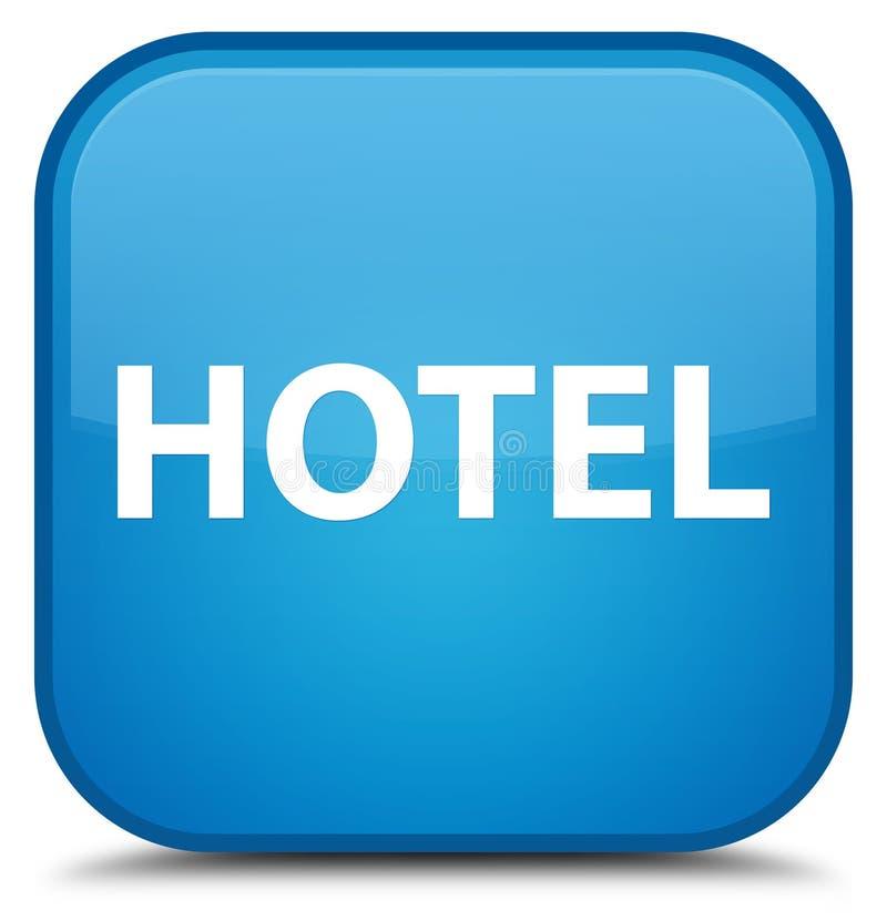 Botón cuadrado azul ciánico especial del hotel ilustración del vector