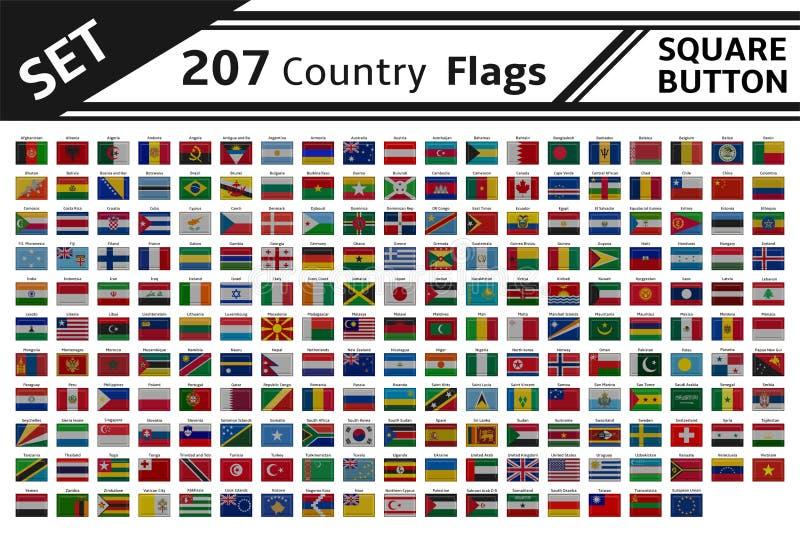 botón cuadrado de 207 banderas de países libre illustration