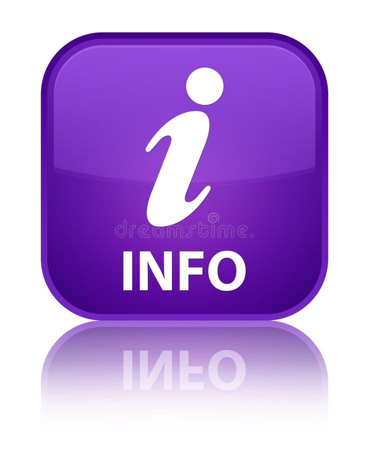 Botón cuadrado púrpura especial de la información ilustración del vector