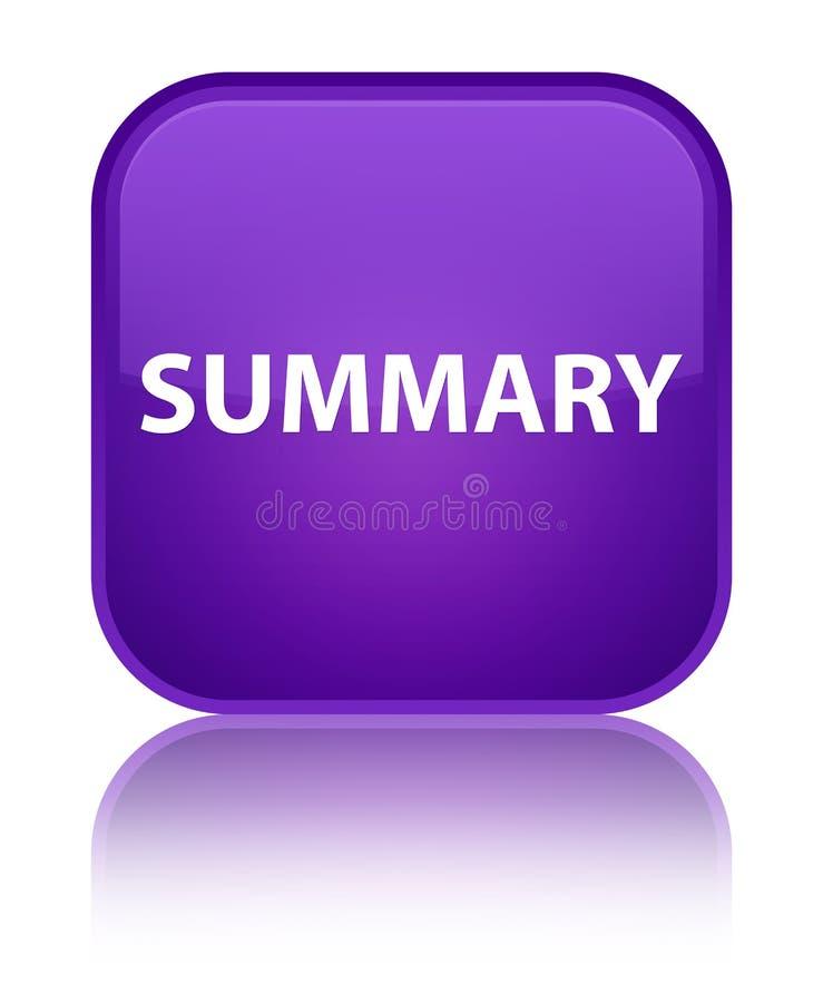 Botón cuadrado púrpura especial sumario ilustración del vector
